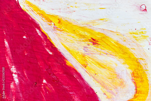 Abstract red, white and yellow painting on concrete background
