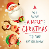 Santa Claus, Reindeer and Elf with big signboard. Merry Christmas calligraphy lettering design. Creative typography for holiday greeting. - 233568402