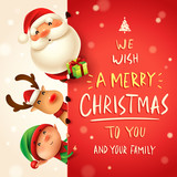 Santa Claus, Reindeer and Elf with big signboard. Merry Christmas calligraphy lettering design. Creative typography for holiday greeting. - 233568452