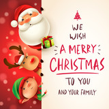 Santa Claus, Reindeer and Elf with big signboard. Merry Christmas calligraphy lettering design. Creative typography for holiday greeting. - 233568492