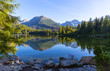 Quadro morning scene on lake in Tatras