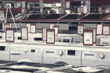 washing mashines in appliance store showroom - 233570619