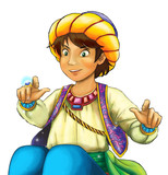 cartoon scene with arabian knight or prince on white background - illustration for children - 233571867