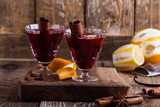 Glasses of  mulled wine, Christmas party festive drink - 233572664