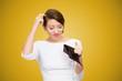 Confused woman having empty wallet