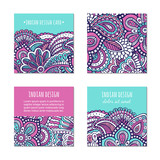 Indian style bright colorful mehendi ornament square cards. Front and back pages. Ornamental blank with ethnic motifs. Paper brochure template. Oriental concept. EPS 10 vector flyer. - 233580245