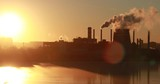 4K pollution, smoke from industrial chimneys, thermal power plants, industry landscape, factory view - 233582034