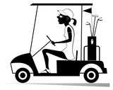 Woman in the golf cart isolated illustration. Pretty young woman is going to play golf in the golf cart black on white