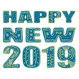 Happy new 2019. Hand drawing, isolate, lettering, typography, font processing, scribble. Designed for posters, cards, T-shirts and other products. - 233586834