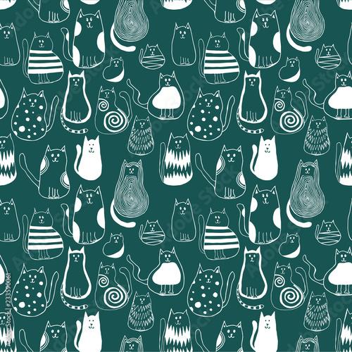 fototapeta na ścianę Seamless pattern with cute doodle cats. Outline animal art.
