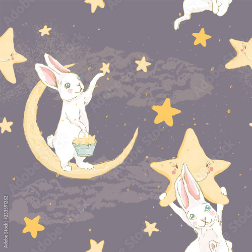 fototapeta na ścianę Cute hand drawn baby bunny with a night star staying on a moon and clouds seamless pattern