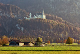 Serene rural landscape with cow sheds in the meadow with the view to Neuschwanstein castle, Bavaria, Germany - 233592639