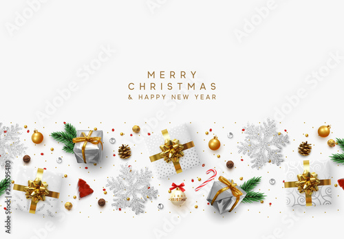 christmas composition with decorative elements of design holiday decoration the border of realistic objects
