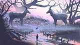 man looking at village of impala the legendary animal in winter forest, digital art style, illustration painting - 233598207