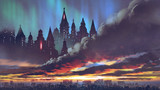 sunset scenery of the dark castles on black clouds above the city, digital art style, illustration painting - 233598209
