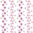 Seamless pattern with hummingbirds and flowers. Separated white background. Swatch is included in EPS file. - 233601639