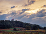Chapel on  a hill above a vineyard in Austria