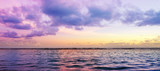 Tropical sea and pink sky background. Travel background.