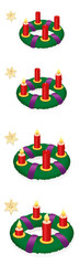Advent wreath with one, two, three, four burning red candles in chronological order on first, second, third and fourth Sunday of Advent, with numbered golden stars - vector on white, high size. © Peter Hermes Furian