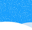 Blue background with winter landscape and snow for seasonal, Christmas and New Year design.