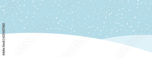 Blue banner with winter landscape and snow for seasonal, Christmas and New Year design. - 233637082