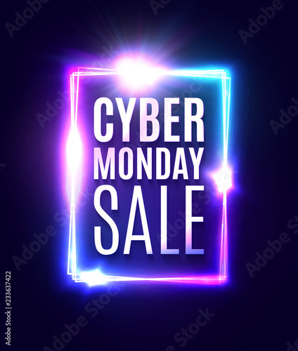 Cyber Monday sale text in neon laser rectangle background. Shining square sign on dark blue backdrop with explosion firework. Banner or flyer design template. Light vector illustration.