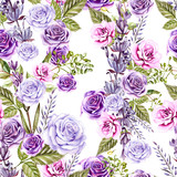 Watercolor pattern with roses flowers and lavender. Hand painting. Watercolor. Seamless pattern for fabric, paper and other printing and web projects.  - 233638421