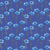 cornflower blue flowers pattern watercolor illustration seamless