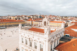 LISBON, PORTUGAL - 08/20/2018 - Aerial view of the famous Praca do Comercio (Commerce Square) - one of the main landmarks in Lisbon . Beautiful Portuguese architecture