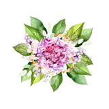 Watercolor bouquet with hudrangea flowers, plants and leaves.  - 233646631
