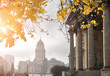 Yellow marple leaves and classical architecture of Gendarmenmarkt on a misty day in Berlin