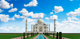 Blue sky with clouds and clean view of the Taj Mahal,Agra, Uttar Pradesh, India