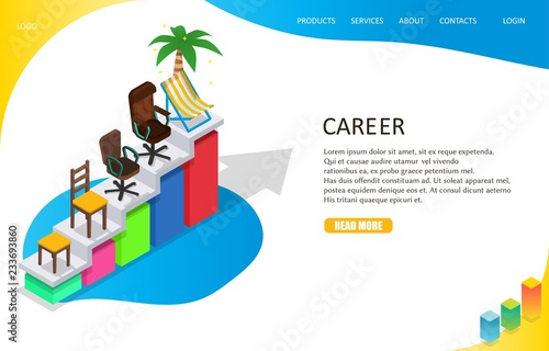 career growth landing page website template vector isometric