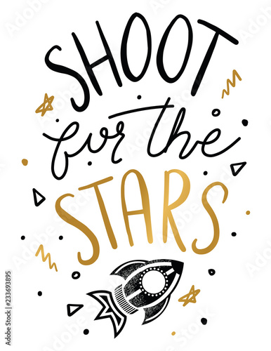 Shoot For The Stars Quote Kids Inspirational Quotes Nusery Prints