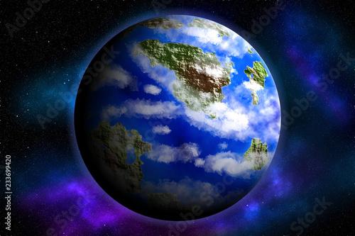 Ziemska planeta na tle gwiazd