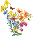 Floristic composition of garden flowers and butterflies isolated on white background