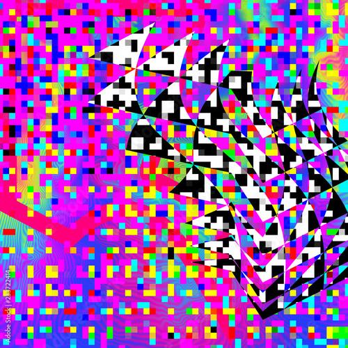 Psychedelic pixel glitch background. XXL size.