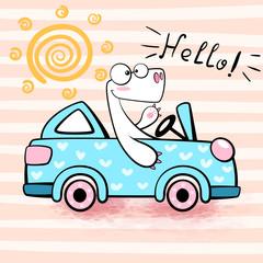 Cute dino drive funny car. © HandDraw