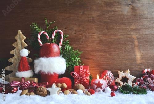 Leinwandbild Motiv Nikolaus - Nikolauskarte - Nikolaustiefel im Schnee
