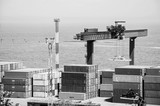 Black and white shot of Industrial landscape of Odessa sea port - 233731006