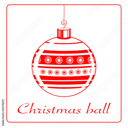 vector background with white and red christmas ball