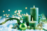 Weihnachten, Advent  -  Kerzen im Schnee
