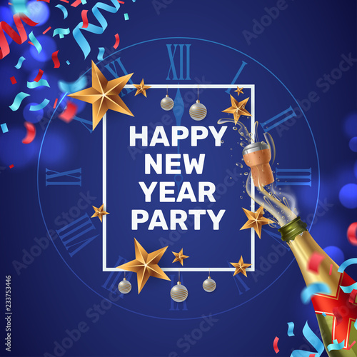 happy new year party invitation composition with a festive frame clock face colorful