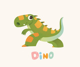 Cute Green Cartoon Baby Dino. Bright Colorful dinosaur. Childrens illustration. Isolated. Vector © lisitsa_