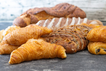 freshly baked French bread table background