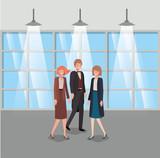 business people in corridor office - 233764287