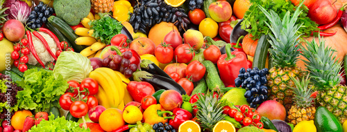 Leinwanddruck Bild Assorted fresh ripe fruits and vegetables. Food concept background.