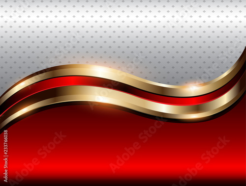 Abstrakcjonistyczna tło czerwień z złocistą kruszcową fala