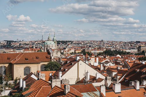View of rooftops of Lesser Town, Prague, Czech Republic, one of the city's most historic regions.