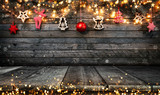 Christmas rustic background with wooden planks - 233771210
